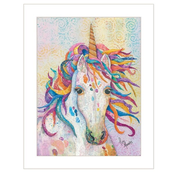 """""""Dazzle-Unicorn"""" by Lisa Morales, Ready to Hang Framed Print, White Frame"""