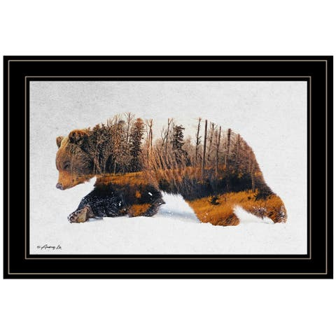 """""""Traveling Bear"""" by Andreas Lie, Ready to Hang Framed Print, Black Frame"""