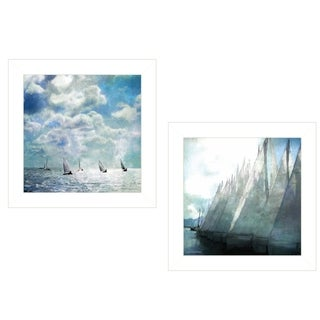 """Sailboat Marina"" 2-Piece Vignette by Bluebird Barn, White Frame"