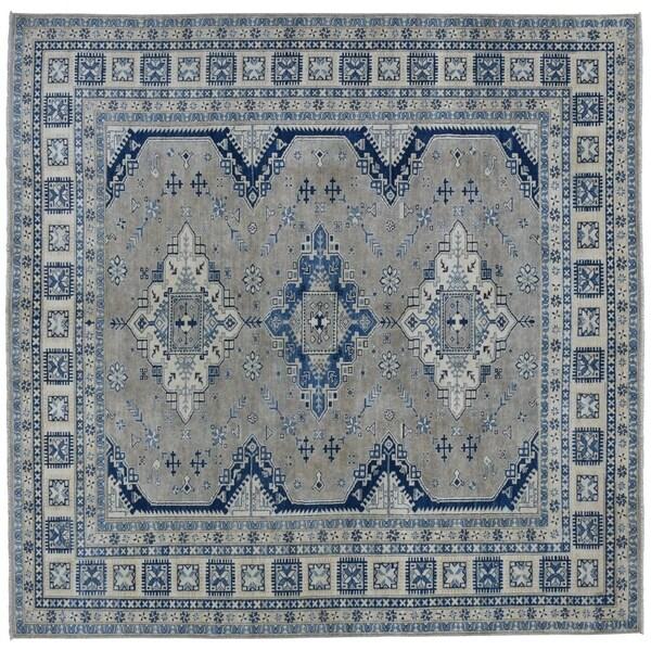 "Shahbanu Rugs Gray Hand-Knotted Vintage Look Kazak Pure Wool Oriental Rug (8'0"" x 9'7"") - 8'0"" x 9'7"""