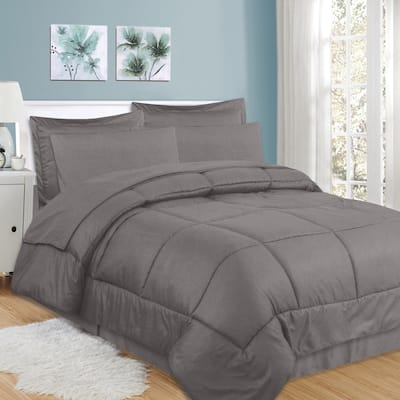Sweet Home Collection Checkered Embossed 8-Piece Bed in a Bag Set
