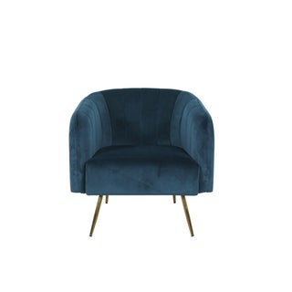Link to HomePop Vida Navy Velvet Accent Chair Similar Items in Living Room Chairs