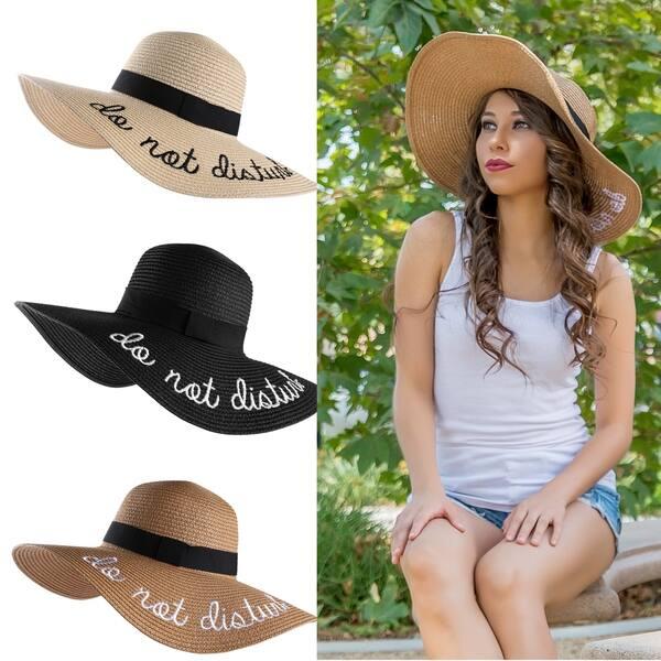 7ba80a7f Shop Women Block Wide Brim Classic Straw Summer Sun Hat Foldable ...