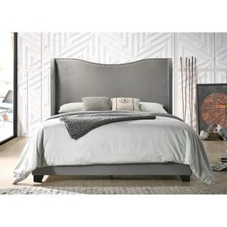 Copper Grove Puteaux Grey Velvet Upholstered Wingback Panel Bed