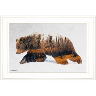 """""""Traveling Bear"""" by Andreas Lie, Ready to Hang Framed Print, White Frame"""