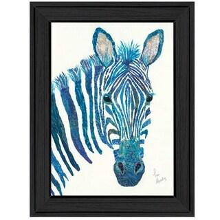 """Blue Zebra"" by Lisa Morales, Ready to Hang Framed Print, Black Frame"