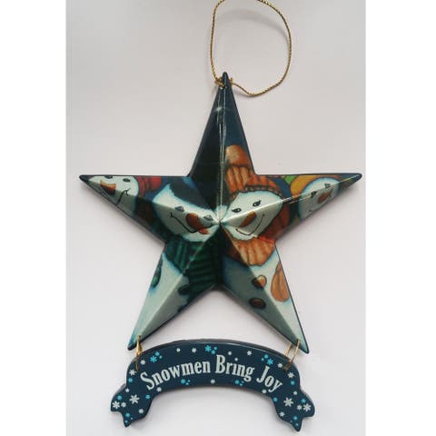 """""""Snowmen Bring Joy - Star Ornament 6-pack"""" by the designers at Trendy Décor 4U. Arrives ready to hang. - Multi"""