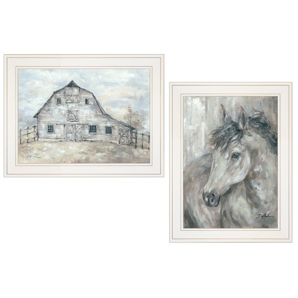 """True Spirit (Horses)"" 2-Piece Vignette by Debi Coules, White Frame"