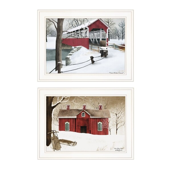 """""""Winter Evening"""" 2-Piece Vignette by Billy Jacobs, White Frame"""