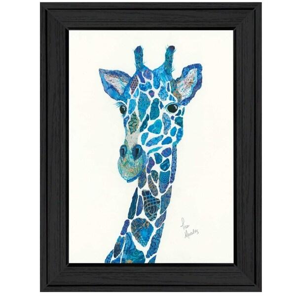 """Blue Giraffe"" by Lisa Morales, Ready to Hang Framed Print, Black Frame"
