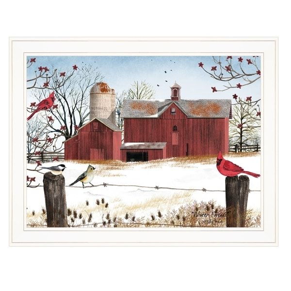 """""""Winter Friends"""" by Billy Jacobs, Ready to Hang Framed Print, White Frame"""