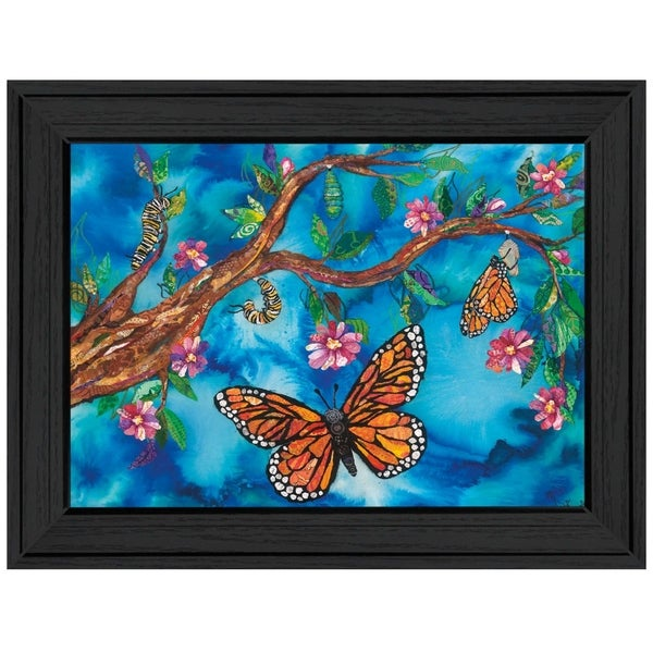 """""""Monarch Life Cycle (Butterfly)"""" by Lisa Morales, Ready to Hang Framed Print, Black Frame"""
