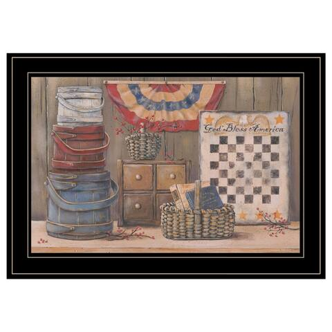 """""""God Bless America"""" by Pam Britton, Ready to Hang Framed Print, Black Frame"""
