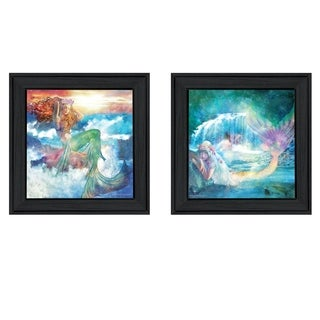 """Mermaids"" 2-Piece Vignette by Bluebird Barn, Black Frame"