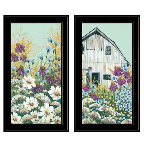 """Floral Field"" 2-Piece Vignette by Michele Norman, Black Frame"