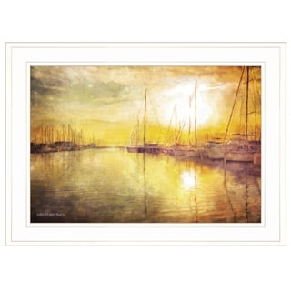 """Yellow Sunset"" by Bluebird Barn, Ready to Hang Framed Print, White Frame"