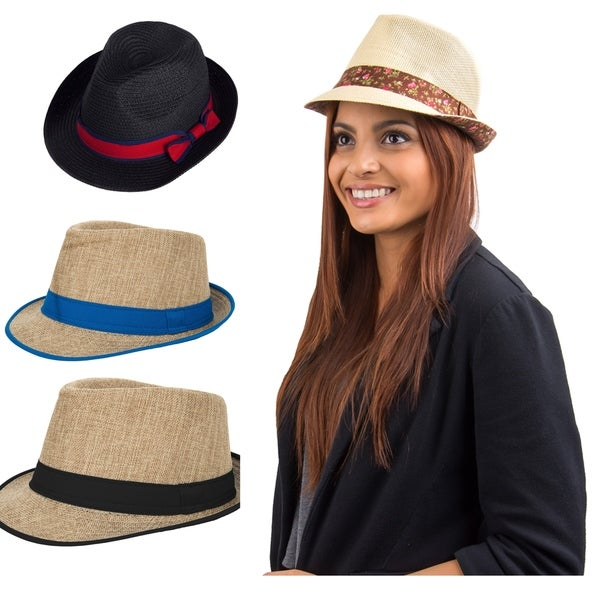 9b7ce924 Shop Women Sun Beach Classic Packable Straw Fedora Trilby Hat - On ...