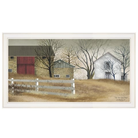 """""""The Old Stone Barn"""" by Billy Jacobs, Ready to Hang Framed Print, White Frame"""