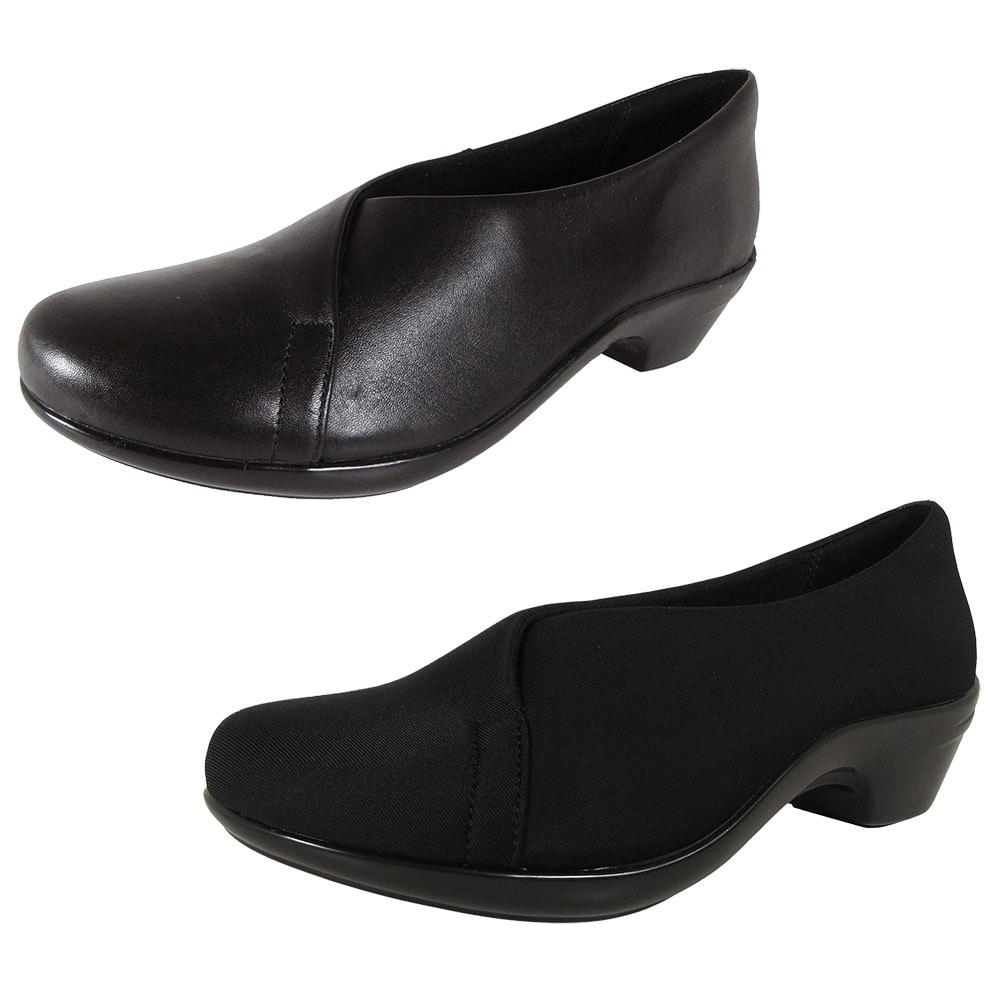 Aravon Womens Kitt Asym Faux Leather Pump Shoes