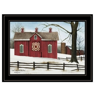 """Lover's Knot Quilt Block Barn"" by Billy Jacobs, Ready to Hang Framed Print, Black Frame"