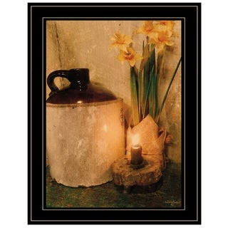"""Daffodils by Candlelight"" by Anthony Smith, Ready to Hang Framed Print, Black Frame"