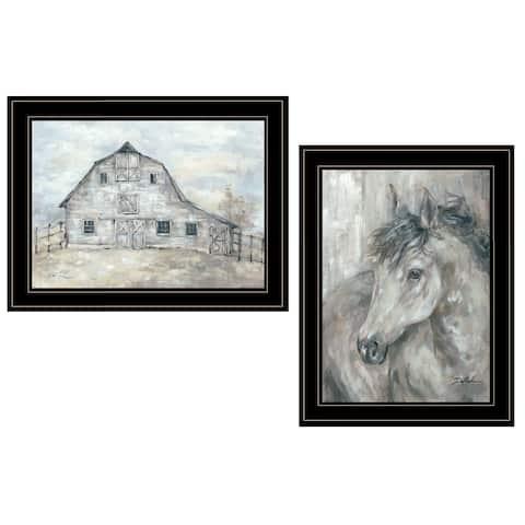 """True Spirit (Horses)"" 2-Piece Vignette by Debi Coules, Black Frame"