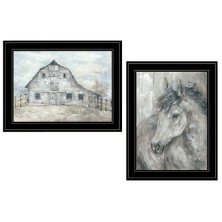 """True Spirit (Horses)"" 2-Piece Vignette by Debi Coules, Black Frame"