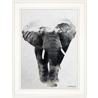 """""""Elephant Walk"""" by Andreas Lie, Ready to Hang Framed Print, White Frame"""
