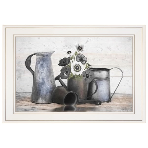 """Floral Farmhouse I"" by Robin-Lee Vieira, Ready to Hang Framed Print, White Frame"