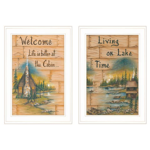 """""""Living on the Lake"""" 2-Piece Vignette by Mary June, White Frame"""