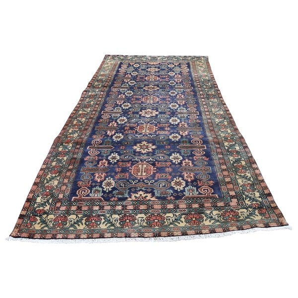 """Shahbanu Rugs Blue Vintage Persian Ardabil Pure Wool Wide Runner Hand-Knotted Rug (4'4"""" x 10'4"""") - 4'4"""" x 10'4"""""""
