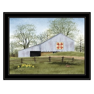 """""""Tulip Quilt Block Barn"""" by Billy Jacobs, Ready to Hang Framed Print, Black Frame"""