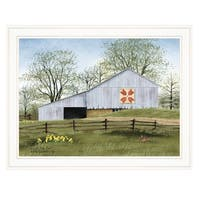 """Tulip Quilt Block Barn"" by Billy Jacobs, Ready to Hang Framed Print, White Frame"