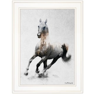 """Galloping Stallion"" by Andreas Lie, Ready to Hang Framed Print, White Frame"