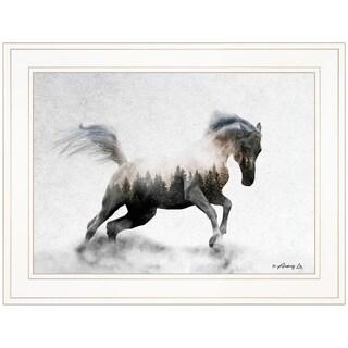 """Running White Stallion"" by Andreas Lie, Ready to Hang Framed Print, White Frame"