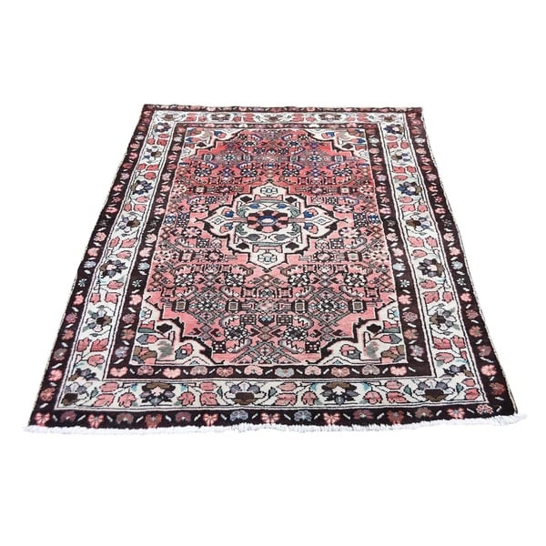 """Shahbanu Rugs Vintage Bohimian Persian Hussainabad Ivory Pure Wool Hand-Knotted Rug (3'5"""" x 5'5"""") - 3'5"""" x 5'5"""""""