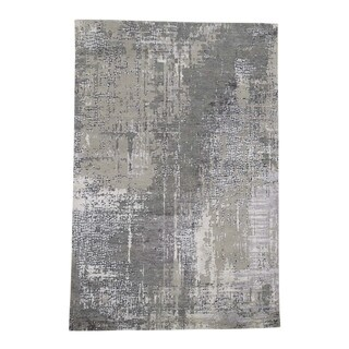 """Shahbanu Rugs Abstract Wool And Silk With Mosaic Design Grey Hand-Knotted Modern Rug (5'9"""" x 8'8"""") - 5'9"""" x 8'8"""""""