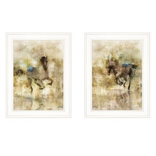"""Horses in Action"" 2-Piece Vignette by Ken Roko, White Frame"