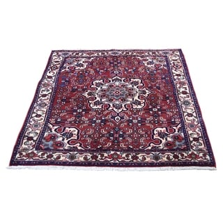 "Shahbanu Rugs New Persian Bijar Red Pure Wool hand-Knotted Oriental Rug (3'7"" x 4'10"") - 3'7"" x 4'10"""