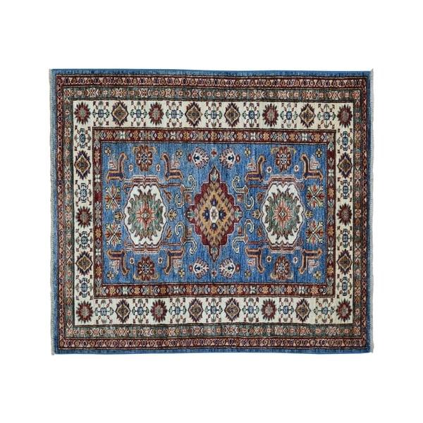 "Shahbanu Rugs Blue Super Kazak Pure Wool Geometric Design Hand-Knotted Oriental Rug (3'3"" x 5'0"") - 3'3"" x 5'0"""