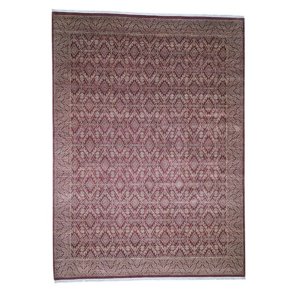 "Shahbanu Rugs Red Tone on Tone Geometric Design Pure Wool Hand-Knotted Oriental Rug (9'2"" x 12'6"") - 9'2"" x 12'6"""