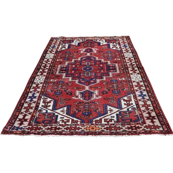 "Shahbanu Rugs Vintage Bohemian Persian Hamadan With Birds Red Pure Wool Rug (3'6"" x 6'9"") - 3'6"" x 6'9"""