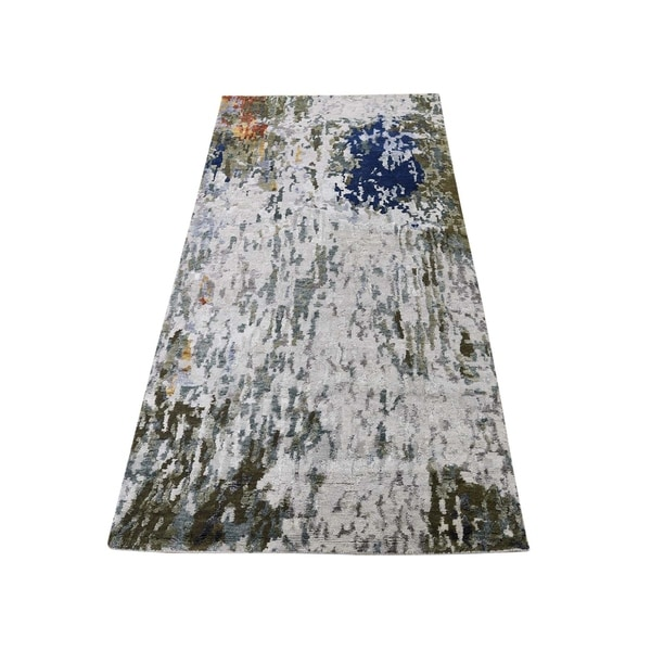 """Shahbanu Rugs Hi-Low Pile Abstract Design Wool And Silk Runner Hand-Knotted Rug (2'7"""" x 8'0"""") - 2'7"""" x 8'0"""""""