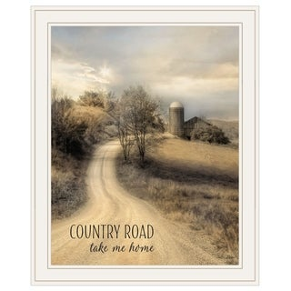 """Country Road Take Me Home"" by Lori Deiter, Ready to Hang Framed Print, White Frame"