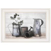 """Floral Farmhouse II"" by Robin-Lee Vieira, Ready to Hang Framed Print, White Frame"