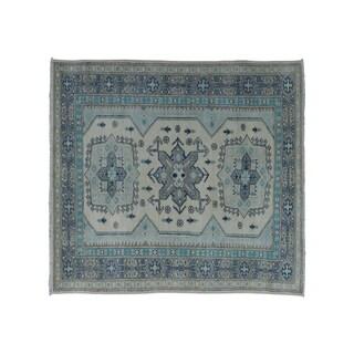 "Shahbanu Rugs Ivory Hand-Knotted Vintage Look Kazak Pure Wool Oriental Rug (3'2"" x 4'9"") - 3'2"" x 4'9"""