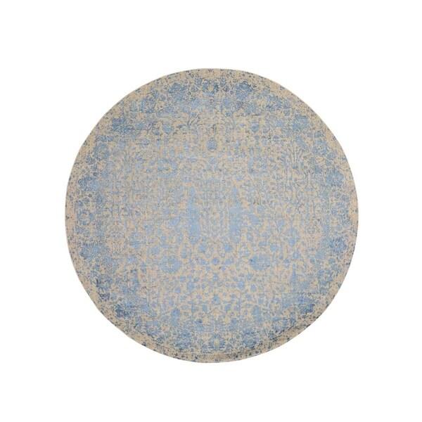 "Shahbanu Rugs Round Blue Broken Cypress Tree Design Wool Silk Thick And Plush Rug (8'0"" x 8'0"") - 8'0"" x 8'0"""