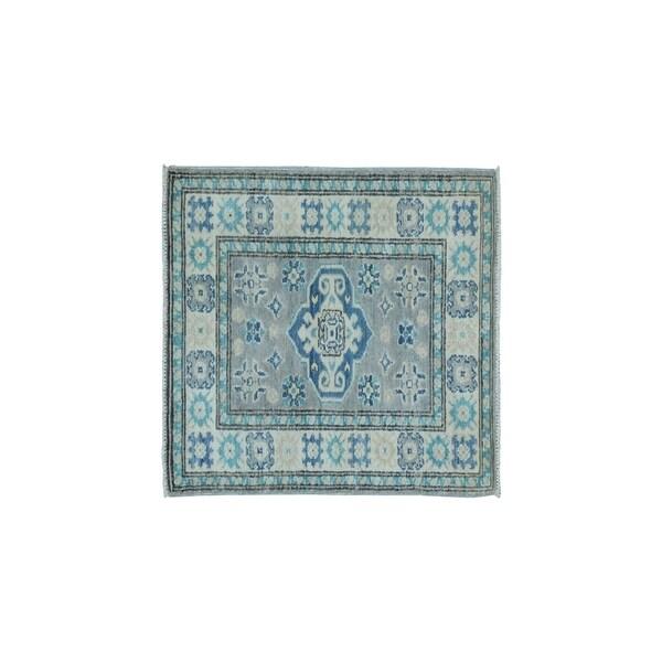 "Shahbanu Rugs Hand-Knotted Pure Wool Vintage Look Kazak Oriental Rug (1'10"" x 2'10"") - 1'10"" x 2'10"""