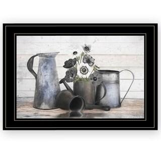 """Floral Farmhouse I"" by Robin-Lee Vieira, Ready to Hang Framed Print, Black Frame"