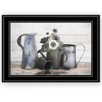 """Floral Farmhouse I"" by Robin-Lee Vieira, Ready to Hang Framed Print, Black Frame"